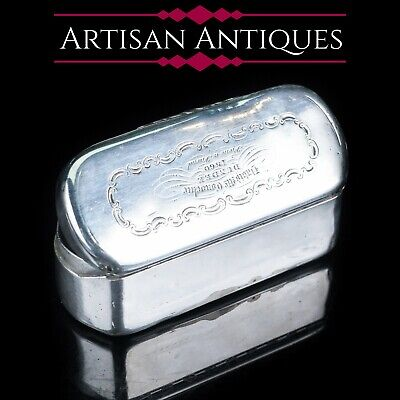 Antique Heavy Table Silver Snuff Box - Capsule Shaped -1859