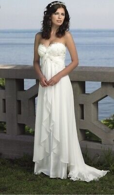 Plus Size Simple Strapless Beach Wedding Dress Chiffon With Satin