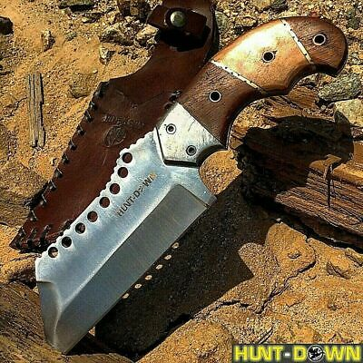 "9"" Full Tang Hunting Knife Tactical W/ Brown Wood Handle and Leather Sheath"