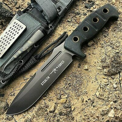 "12"" Knife Combat Survival Hunting Tactical Bowie Sharpener Fixed Blade Full Tang"