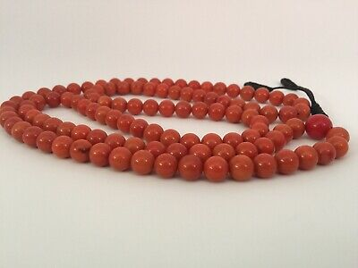 109 necklace red coral bracelet antique prayer beads mala rosary old tibetan