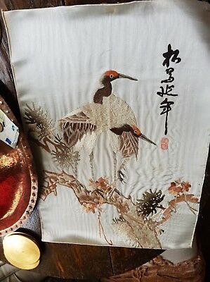 Antique SignedJapanese silk Long Stitch Embroidery Panel Storks On A Pine Tree