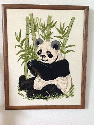 Panda Crewel Embroidery Framed Picture As Seen on USA Suits TV Show