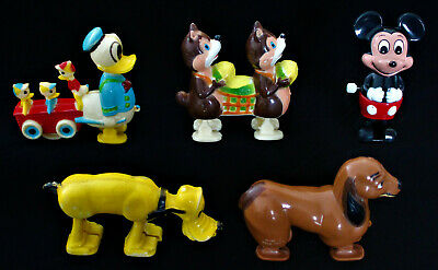 Vintage Plastic Ramp Walker Pull Toys - Disney Mickey Mouse Pluto Chip 'n' Dale
