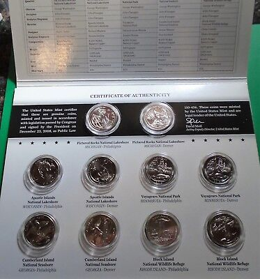 2018 p,d Uncirculated America The Beautiful National Park Quarters 10 Coin Set