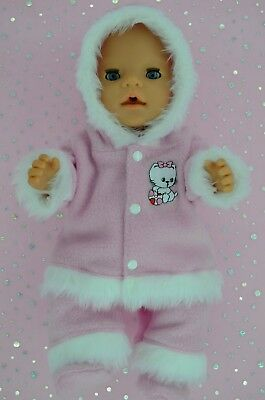 """Play n Wear Doll Clothes To Fit 17"""" Baby Born PINK JACKET~PANTS~BOOTIES"""