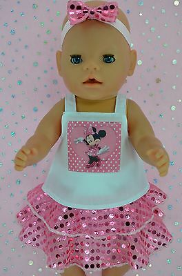 """Play n Wear Doll Clothes To Fit 17"""" Baby Born PINK SEQUIN SKIRT~TOP~HEADBAND"""