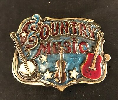 Cast Brass Country Music Belt Buckle Great American Buckle Co 1982 Vintage