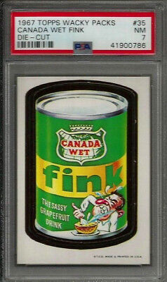 1967 Topps Wacky Packages #35 Canada Wet Fink Die-Cut PSA 7 NM Non-sport Card