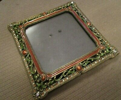 Preowned Jeweled  Rhinestone And Green & Amber  Picture Frame