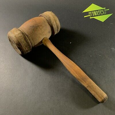 Awesome Antique Leather Hide Clad Wooden Mallet Maul Pounding Dead-Blow Hammer