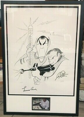 STAR TREK Al Hirschfeld Signed 'Spock & Kirk' SHATNER & NIMOY Photo Proof & COA