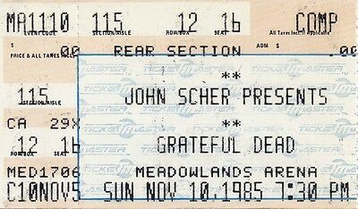 Grateful Dead Ticket Stub  11-10-1985  Meadowlands Arena
