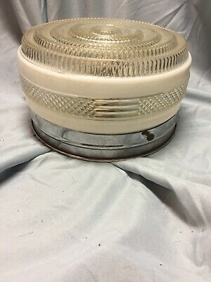 """""""ceiling Mount"""" Lamp Shade, Glass gas station salvage~chrome base Mid Century"""