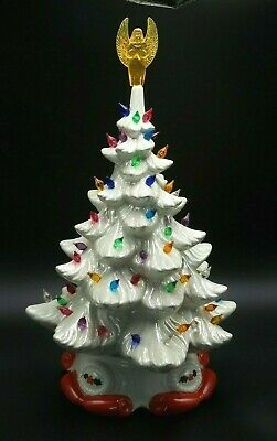Large Vintage White 17 Inch Tall Ceramic Christmas Tree With Light And Base