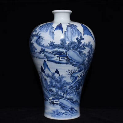 Chinese Exquisite Handmade landscape blue and white porcelain vase