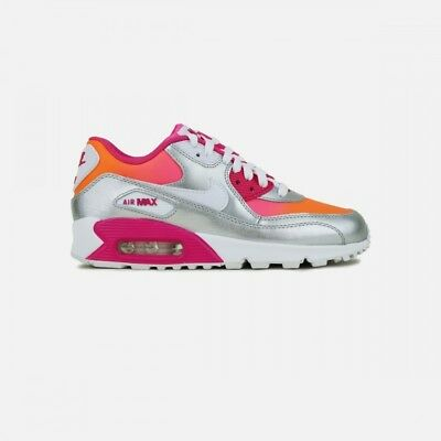 NIKE AIR MAX 90 Prem Ltr (Gs) Youth 4 Silver Pink Orange