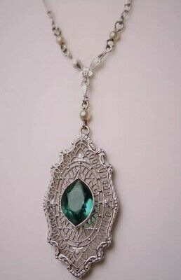 Antique Art Deco 10K White Gold Filigree Faux Emerald Seed Pearl Necklace BRIDAL