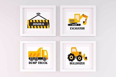 Set of 4 Nursery/home wall decor prints personalised transport construction boys