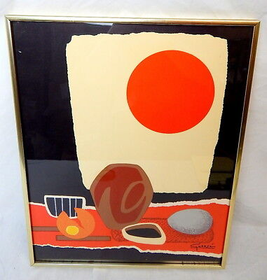 Antonio Guanse Mid Century Color Print or Lithograph w/ Kulicke Frame NY 15 x 19