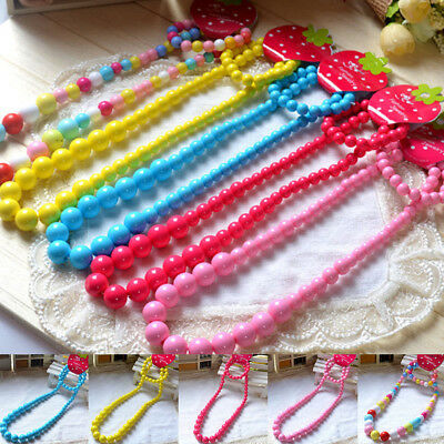 FT- Princess Girls Colorful Beads Necklace Kids Baby Bracelet Toddler Jewelry Fa