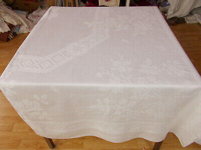 105x69 Vtg Antique BUTTERFLY & FLOWER White IRISH LINEN DOUBLE DAMASK Tablecloth