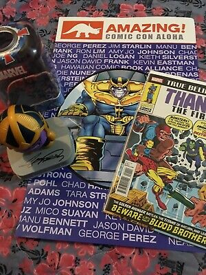 Mighty Muggs THANOS Signed G Perez, The First Comic, Comic Con Poster Endgame
