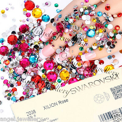 Non Hot Fix Nail Art Swarovski SS3 -5 Crystals Mix Colours 1.3-1.8mm Rhinestones