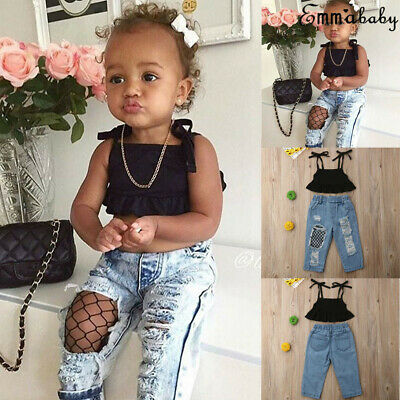 4b83101cf307 2PCS Toddler Kids Baby Girls Clothes Outfits T-shirt Tops +Denim Jeans Pants  Set