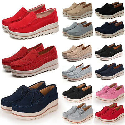 Women Suede Creepers Casual Wedge Platform Loafers Thick Bottom Slip Ons Shoes