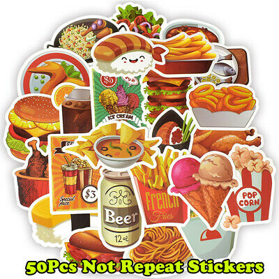 Mix 50Pcs Funny Food Packaging Stickers Skateboard Graffiti Laptop Luggage Decal