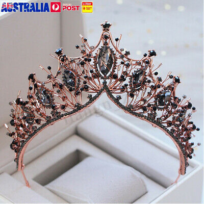 Black Crystal Beads Rose Gold Tiara Crown Wedding Party Prom Pageant Headpiece