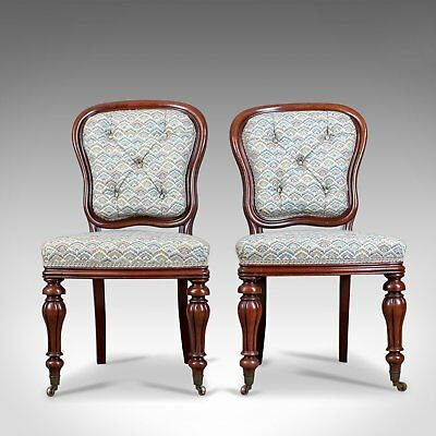 Antique Pair of Chairs, William IV, Mahogany, Button Back, Parlour, Side c.1835