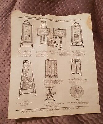 Pictures, Easels, Screen, Tables, Whatnot - Tye & Co. Catalogue Page - c.1900