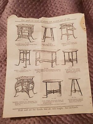 Tables, Whatnot, Fire Screen - Tye & Co. Catalogue Page - c.1900