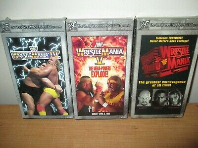 Lot of 3 VHS Tapes WWF Wrestlemania Videos - IV, V, XIV - Nice - Fast Shipping