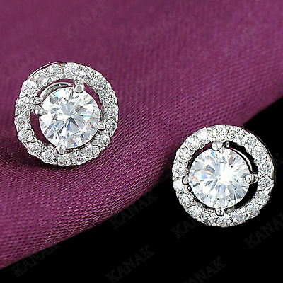 2 CT Round Cut Diamond Solitaire Halo Stud Earrings 14k White Gold Over
