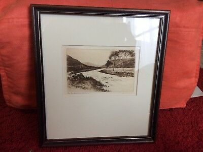 C. Dickens - Framed Original Antique Etching - Dee Nearing Braemer - Scotland