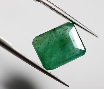 4.42 Ct Natural Emerald Loose Octagon Cut Zambian No Heat Green Color Gemstone