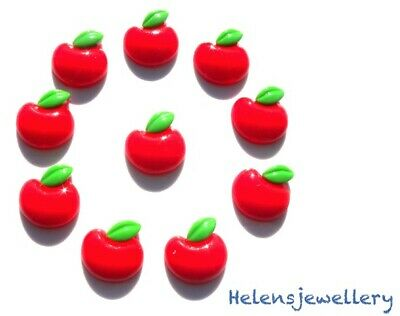 10 LARGE RED APPLES FLATBACK KITCH CABOCHONS RESIN DECODEN FAST SHIPPING