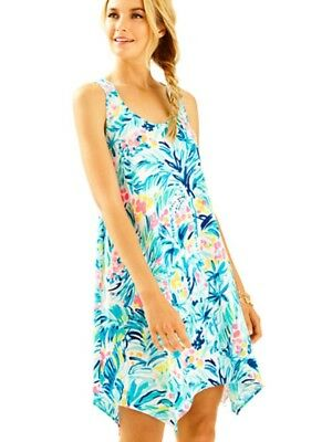 572c57d843f16d LILLY PULITZER SERENE BLUE TIPPY TOP MELLE Trapeze Racerback DRESS Sz  XSmall Euc