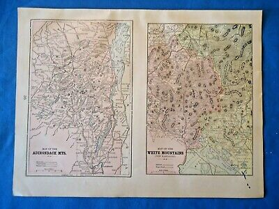 Vintage 1901 ADIRONDACK WHITE MOUNTAINS Map Old Antique Original Atlas Map 21719