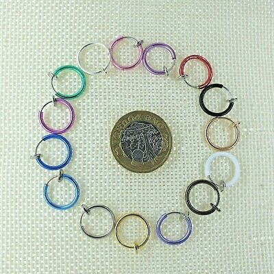 Fake Clip On Circle Hoop Loop Ring Nose Septum Lip Earring NON-PIERCED 15 Color