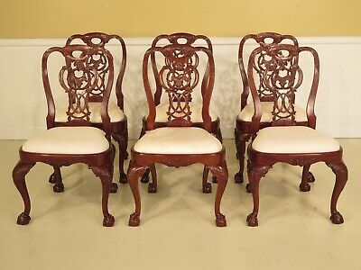 LF23659A: Set Of 6 Georgian Mahogany Claw Foot Dining Room Side Chairs