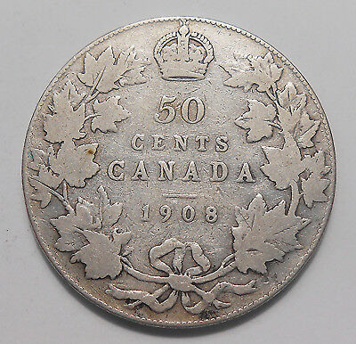 1908 Fifty Cents VG+ Very Nice SCARCE Date KEY King Edward VII Early Canada Half