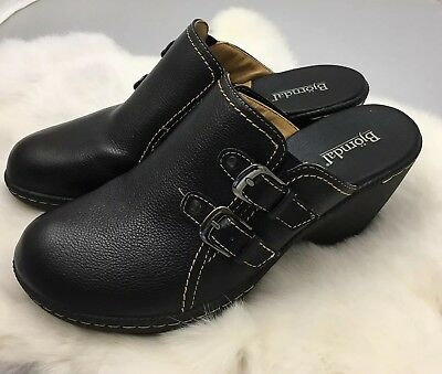 84ab9c0e241 Bjorndal Jessie Black Pebbled Leather Comfort Mules Size 7 Clogs Heels Slip  On