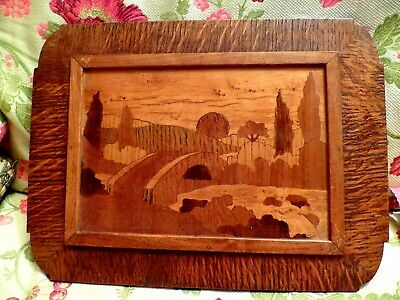 Vintage Inlaid Italian Marquetry Wooden Sorrento Ware Wall Plaque