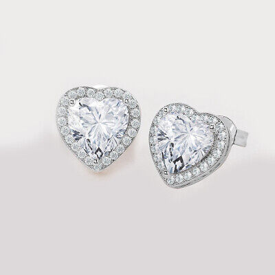 Cubic Zirconia CZ Micro Pave Heart Screw Back Stud Earrings Sterling Silver LOVE