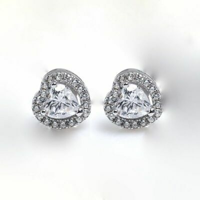 b48a12a61 Diamond Heart Studs .925 Sterling Silver Gold Plated Micro-Pave Diamond  Earrings