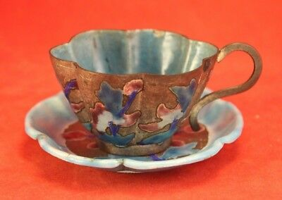 Vintage Chinese Enamel and Silver Metal Cup and Saucer - Turquoise